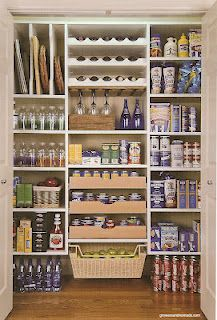 Organized pantry - love the sheet storage top, left.  Basket for fruit is nice too!