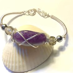 Wire Wrapped Amethyst Minimalist Gemstone Ring SIZE 5  with Purple Glass Bead Accents