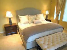 """Master bedroom. Cool color palette and """"Pottery Barn"""" look + upholstered bed, c2Design"""