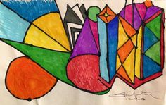 Cones planes bird beak. Original drawing. Small. Abstract. Markers.  #Abstract