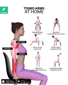 TONED ARMS AT HOME Ready to get toned, strong arms at home? Get rid of arm fat with this workout plan from FitonomyApp. These workouts can be completed at home and they require dumbbells only. Fitness Workout For Women, Fitness Workouts, Yoga Fitness, At Home Workouts, Fitness Fun, Fun Workouts, Tone Arms Workout, Biceps Workout, Bicep Workout Women