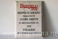 Placa marmura gravata si vopsita rosu si negru Service Awards, John Smith, Laser, Printmaking