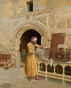 "Ludwig Deutsch (Austrian-born French Academic Painter, ""The Furniture Maker"" Old Paintings, Beautiful Paintings, Art Arabe, Empire Ottoman, Arabian Art, Old Egypt, Pics Art, Ludwig, Maker"