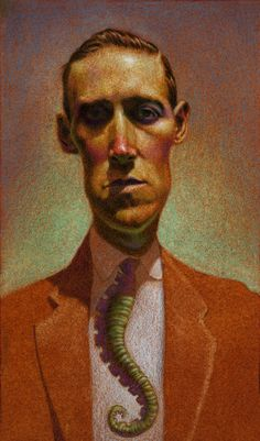 "H.P. Lovecraft - He Draws - The Art of Matt Buck. Graphite, Oil, Colored Pencil  6.5"" x 11""  2009. Greatest author of horror to ever grace the earthly realm. Featured in a group show of art inspired by his writings: A Love Craft."
