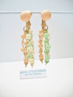 beaded pastel dangle earrings pastel drop by ALEXLITTLETHINGS
