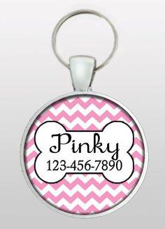 Pet ID - Dog Name Tag - Pink Chevron Dog Tag - Gifts for Girl Dogs - Dog Tag for Dogs - Dog ID Tag - Pet I.D. Tag - Design No. 282