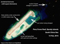 Josh Rogin article on Bloomberg with Victor Robert Lee image of Fiery Cross Reef, Spratly Islands, South China Sea.