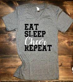 $19.99 Eat, Sleep, Cheer, Repeat • Cheer Shirt • Bella Canvas. Cheerleader gift. Cheer practice t-shirt. #cheerleading #ad