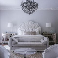 White Velvet Tufted Headboard with Mirrored Nightstands - Nolen Homes and Interiors