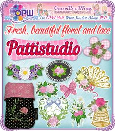 Shop today, for fresh, beautiful, floral and lace, machine embroidery designs from Pattistudio!