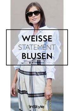 Fashion-Must-have: Alle Modemädchen tragen jetzt weiße Statement-Blusen Elegant, Statements, Sunglasses, Outfits, Fashion, Beautiful Blouses, Beautiful Models, Styling Tips, Outfit Ideas