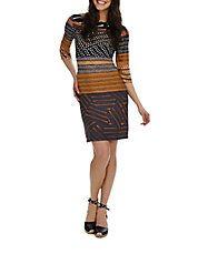 Mixed Dot Colorblock Sheath Dress