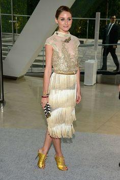 Olivia Palermo con un vestido con flecos