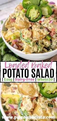 """This creamy dairy-free potato salad is packed with everything you'd expect from a fully loaded baked potato -crisp salty bacon, green and red onions, jalapenos and a zesty """"cheesy"""" dressing. This healthy & Whole30 side dish is sure to impress your friends and family at your next summertime celebration!   #paleoishkrista #dairyfree #whole30 #potatosalad #potluckrecipes"""