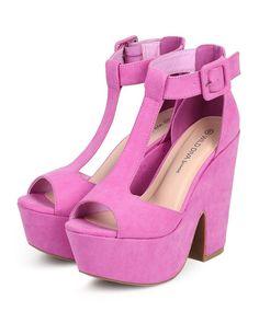 Orchid Suede T-Strap Peep Toe Chunky Heel Platform Sandal
