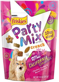 Friskies Party Mix Cat Treats California Dreamin Chicken Turkey and Bacon Flavors 10Ounce 4Pack -- Click image for more details.