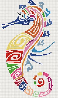 Hey, I found this really awesome Etsy listing at https://www.etsy.com/listing/170414452/seahorse-abstract-counted-cross-stitch