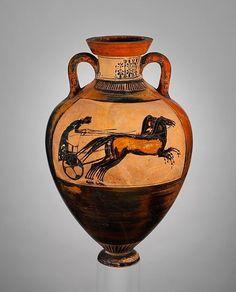 Terracotta Panathenaic prize amphora (jar), Archaic ca. 530 B.C. Greek, Attic Terracotta; black-figure H. 24 13/16 in. (63 cm); diameter of mouth 6 15/16 in. (17.6 cm); diameter of foot 4 13/16 in. (12.3 cm)
