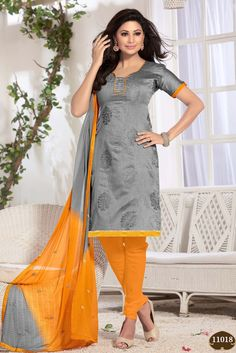 Enhance your beauty with your style in this candid casual wear straight cut salwar suit. This grey color dress material is made from chanderi jacquard fabric an