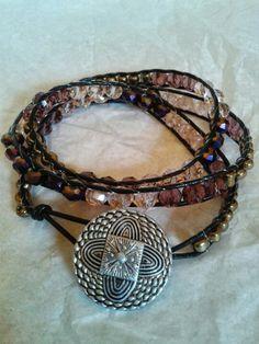 DIY wrap bracelet with vintage (grans) button