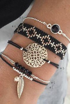 Mint15 Bohemian Bracelets Black Set - Silver