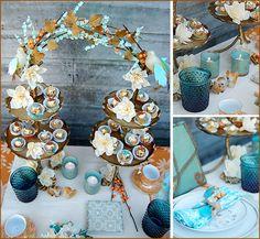 vintage turquoise & orange tablescape or dessert bar