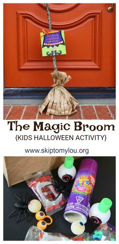 Have fun this Halloween with this DIY kid's activity and sweet treat! Print the free poem and attach to your homemade broom craft for a handmade gift surprise. #halloween