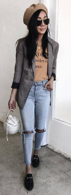 casual style obsession / hat blazer bag sweater rips loafers