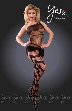 Amazing striped bodysuit with one side shoulder strap and an open crotch. Striped Bodysuit, Black Bodysuit, Opaque Stockings, Patterned Tights, Polka Dot Fabric, Luxury Lingerie, Black Satin, Satin Fabric, Fashion Brand