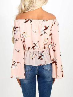 Floral Print Shirring Off Shoulder Casual Blouse