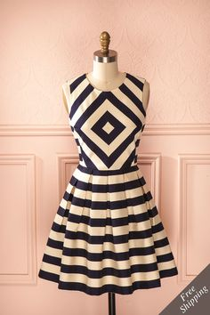 Fifa - Beige and navy blue stripes a-line dress
