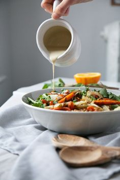 Roasted Fennel & Carrot Salad w/ Mint & Orange Tahini Dressing // The Green Life