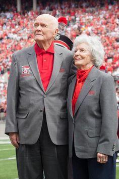 John Glenn and his wife, Anne Ohio State-California game