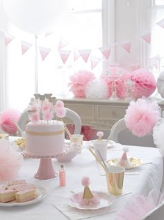 décoration anniversaire pastel rose - pink birthday party