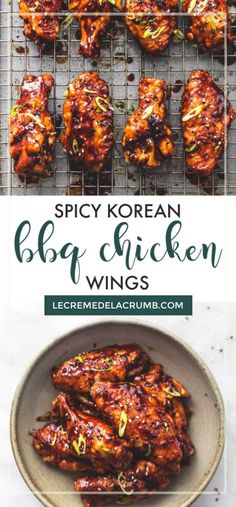 These Spicy Korean BBQ Chicken Wings will change the way you think about chicken wings forever. Savory, spicy, sweet, and sooooo scrumptious, if you're looking for a way to kick your appetizer game up… Spicy Korean Chicken, Korean Chicken Wings, Sweet And Spicy Chicken, Chicken Wings Spicy, Roosters Chicken Wings Recipe, Korean Bbq Wings Recipe, Crockpot Chicken Wings, Chiken Wings, Asian Wings