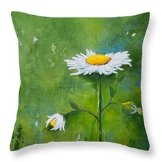 Daisies Throw Pillow featuring the painting Daisy Diptych 1 by Dawn Broom