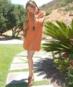 Burnt orange shirt dress could easily transition into fall with some boots!