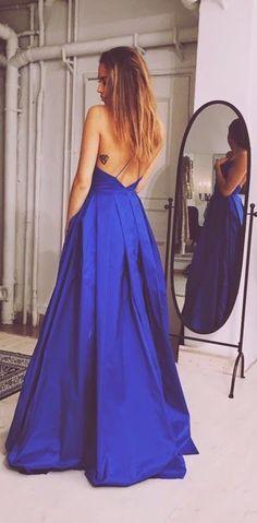 Elegant Evening Dress,Backless Prom Dress,Blue Long Formal Dress,Sexy Prom Dresses by fancygirldress, $159.00 USD