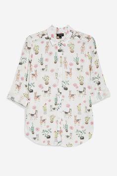 PETITE Llama Print Shirt - Petite - Clothing - Topshop USA