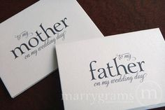 Wedding Cards to Your Mother and Father -- Parents of the Bride or Groom Cards Perfect with a Gift via Etsy