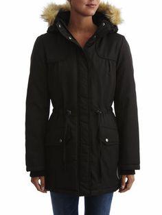 PADDED PARKA COAT, Black, main