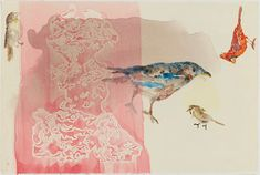 """Christine Burgin Gallery in East Chelsea. """"Birds and Rocks"""" by Anne Chu. (Monotypes, Abstract, Painterly)"""