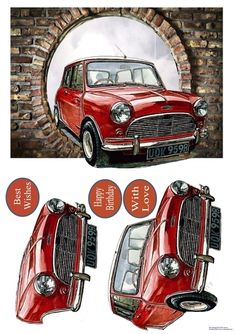 Oh My Mini by Eliza Brown The iconic Mini appearing through a hole in the wall. Decoupage the car.: The iconic Mini appearing through a… Decoupage Printables, Freehand Machine Embroidery, Wire Jewelry Designs, Verses For Cards, Crafts With Pictures, 3d Cards, 3d Prints, Birthday Cards For Men, Fathers Day Cards