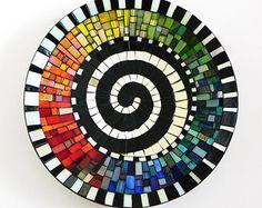 Mosaikkunst-Rainbow Teller mit Spirale Motiv, Platter, Mosaik Schale, Wand- oder Tischdekoration, mittlere Größe