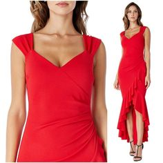 Red High Low Asymmetric Frill Hem Strappy Maxi Dress Occasion Cocktail Party NEW #Unbranded #MaxiDress #Party