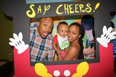 Mickey Mouse Clubhouse DIY photo booth board                                                                                                                                                                                 More Birthday Bash, First Birthday Parties, First Birthdays, Birthday Ideas, Mickey Mouse Baby Shower, Baby Mouse, Diy Photo Booth, Mickey Party, Mickey Mouse Clubhouse