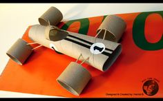 made of Toilette paper roll! Fun Crafts For Kids, Preschool Crafts, Art For Kids, Toilet Paper Roll Crafts, Paper Crafts, Car Racing For Kids, Transportation Crafts, Cardboard Car, Kids Toilet