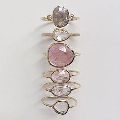 Rose Cut Sapphire Slice Rings, East-West Pear Ring and Kepler Ring #greydiamonds #rosecutdiamonds #ringstack #sapphireslices #sapphirering #diamondring #alternativebride #madeinnyc #valejewelry