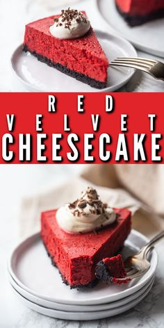 Red Velvet Cheesecake: So creamy-dreamy, with a hint of cocoa and buttermilk, over a crunchy Oreo cookie crust. Perfect for Valentine's Day, Christmas, or Fourth of July! #redvelvet #cheesecake #easy #newyorkstyle #withoreocrust #recipes #videos #bars #factory #homemade #copycat #fromscratch #best #christmas #glutenfree #squares #valentines #simple #howtomake #desserts #bakingamoment Romantic Recipes, Romantic Meals, Unbaked Cheesecake, Cheesecake Recipes, Oreo Crust, Cookie Crust, Red Velvet Flavor, Red Velvet Cheesecake, Sweetened Whipped Cream