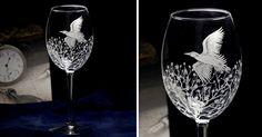 Купить Бокал под вино, полет над сакурой, подарок ценителю вина в интернет магазине на Ярмарке Мастеров